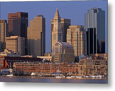 Boston Sail Boats And Cityscape Metal Print by Juergen Roth