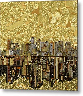 Boston Skyline Abstract Brown Metal Print