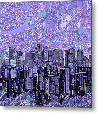 Boston Skyline Abstract Metal Print by Bekim Art