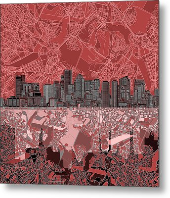 Boston Skyline Abstract Red Metal Print by Bekim Art