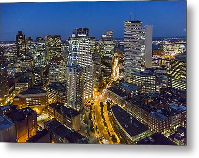 Boston Skyline At Night From The Sw Metal Print by Dave Cleaveland