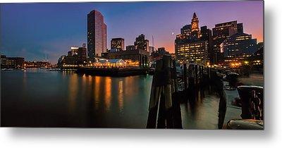 Boston Skyline At Twilight Metal Print by Thomas Schoeller