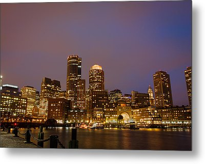 Boston Skyline Blue Hour Metal Print by Stewart Mellentine