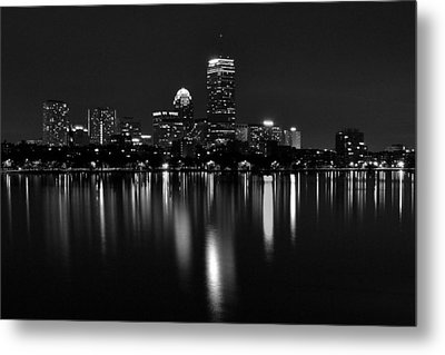 Boston Skyline By Night - Black And White Metal Print