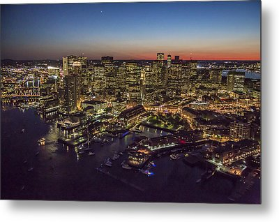 Boston Waterfront At Night. Metal Print by Dave Cleaveland