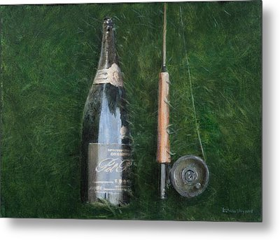 Bottle And Rob II, 2012 Acrylic On Canvas Metal Print by Lincoln Seligman
