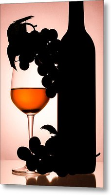 Bottle And Wine Glass Metal Print by Sirapol Siricharattakul