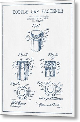 Bottle Cap Fastener Patent Drawing From 1907  - Blue Ink Metal Print by Aged Pixel