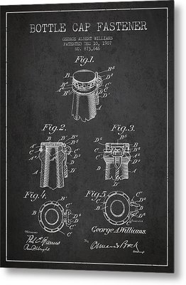 Bottle Cap Fastener Patent Drawing From 1907 - Dark Metal Print