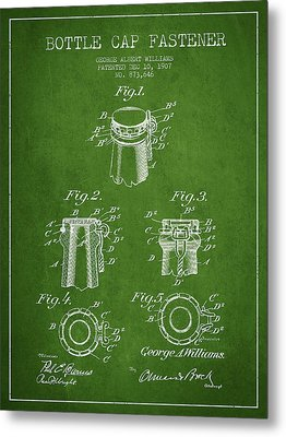 Bottle Cap Fastener Patent Drawing From 1907 - Green Metal Print