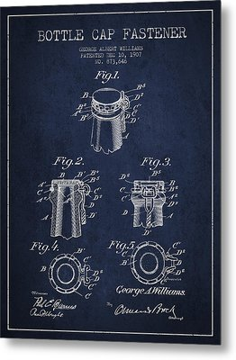 Bottle Cap Fastener Patent Drawing From 1907 - Navy Blue Metal Print