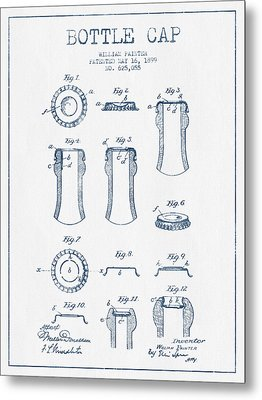Bottle Cap Patent Drawing From 1899 - Blue Ink Metal Print by Aged Pixel