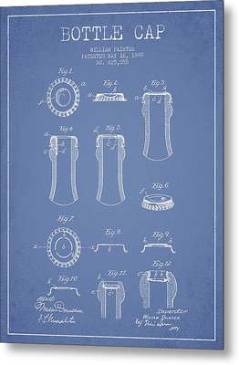 Bottle Cap Patent Drawing From 1899 - Light Blue Metal Print by Aged Pixel