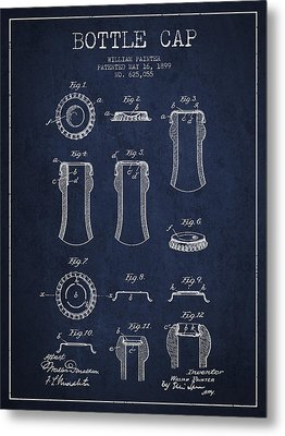 Bottle Cap Patent Drawing From 1899 - Navy Blue Metal Print
