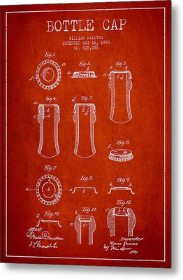 Bottle Cap Patent Drawing From 1899 - Red Metal Print
