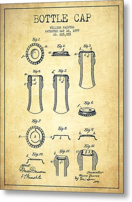 Bottle Cap Patent Drawing From 1899 - Vintage Metal Print