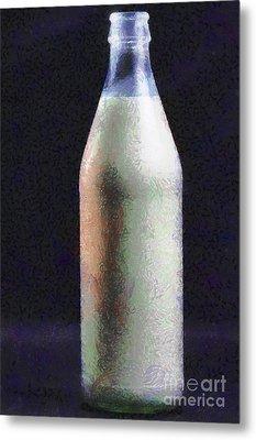 Bottle Of Milk Painting Metal Print by Magomed Magomedagaev
