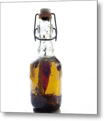 Bottle Of Oil Metal Print by Bernard Jaubert