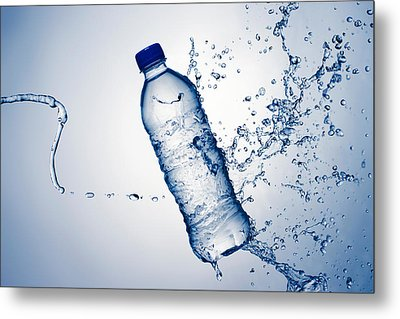 Bottle Water And Splash Metal Print