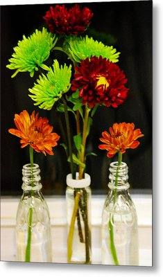 Metal Print featuring the photograph Bottled Flowers by Linda Segerson