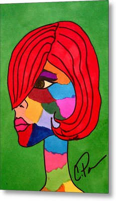 Metal Print featuring the drawing Bottlenecked Gretchen by Chrissy Pena