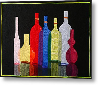 Metal Print featuring the tapestry - textile Bottles by Jo Baner