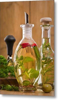 Bottles Of Olive Oil Metal Print by Amanda Elwell