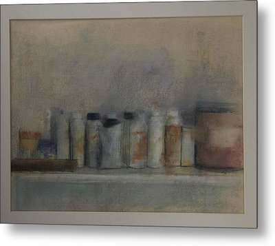 Bottles On A Shelf Metal Print by Paez  Antonio