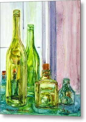 Bottles - Shades Of Green Metal Print by Anna Ruzsan