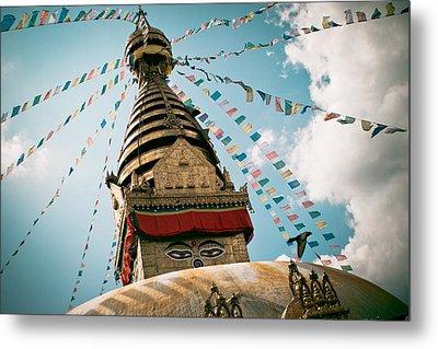 Boudhnath Stupa In Nepal Metal Print by Raimond Klavins