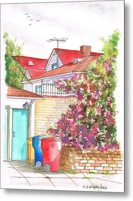 Bougainvilleas And Trash Cans In Westwood - California Metal Print by Carlos G Groppa