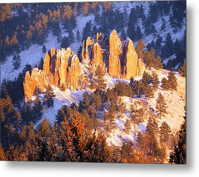 Boulder Red Rocks Glowing Metal Print