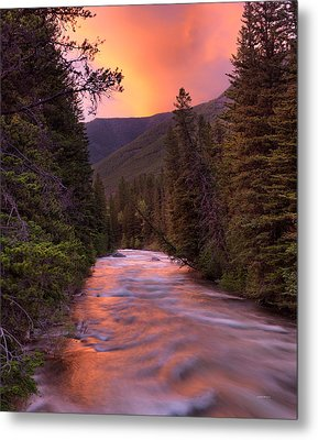Boulder River Sunset Metal Print by Leland D Howard