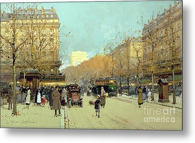 Boulevard Haussmann In Paris Metal Print by Eugene Galien-Laloue