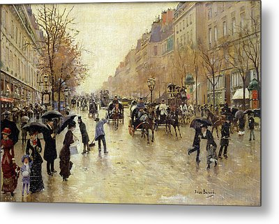 Boulevard Poissonniere In The Rain, C.1885 Oil On Canvas Metal Print