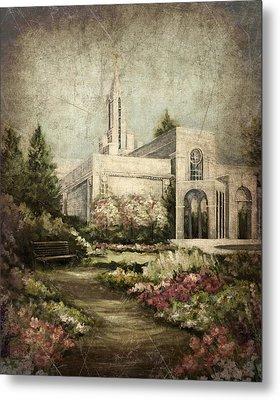 Bountiful Utah Temple-pathway To Heaven Antique Metal Print
