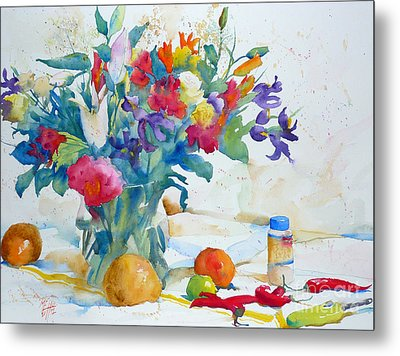 Bouquet And Red Peppers Metal Print by Andre MEHU