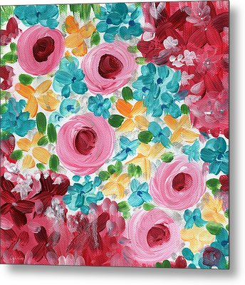 Bouquet- Expressionist Floral Painting Metal Print by Linda Woods