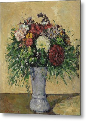 Bouquet Of Flowers In A Vase, C.1877 Oil On Canvas Metal Print