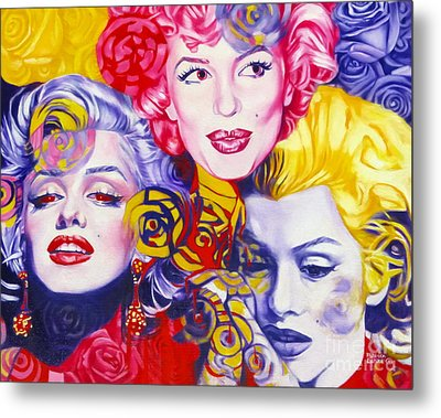 Metal Print featuring the painting Bouquet Of Marilyn by Rebecca Glaze