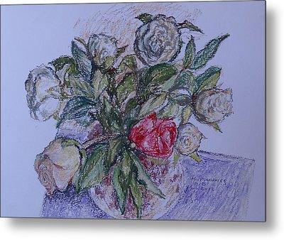 Bouquet Roses Creme Metal Print by Agnieszka Praxmayer