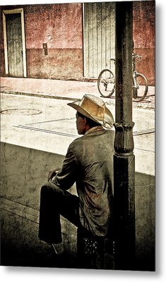 Metal Print featuring the photograph Bourbon Cowboy In New Orleans by Ray Devlin