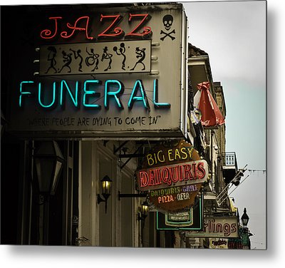 Metal Print featuring the photograph Bourbon Street Bar Signs In New Orleans by Ray Devlin