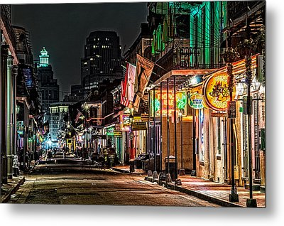 Bourbon Street Glow Metal Print by Andy Crawford