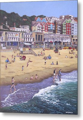 Bournemouth Boscombe Beach Sea Front Metal Print by Martin Davey