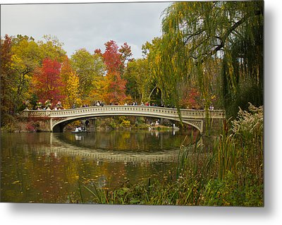 Metal Print featuring the photograph Bow Bridge Central Park Ny by Jose Oquendo