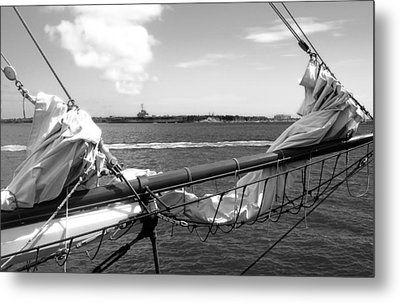 Bow Of A Sailboat Metal Print by Ellen Tully