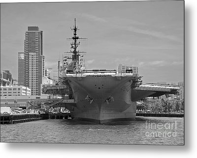 Bow Of The Uss Midway Museum Cv 41 Aircraft Carrier - Black And White Metal Print by Claudia Ellis