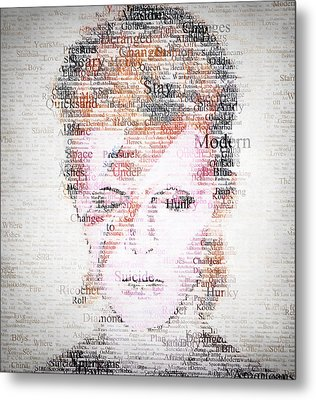 Bowie Typo Metal Print by Taylan Apukovska