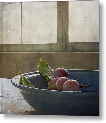 Bowl Full Of Plums Metal Print by Sally Banfill